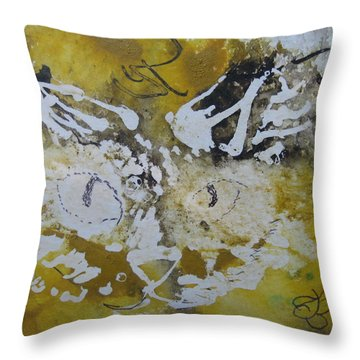 Throw Pillow featuring the drawing Abstract Cat Face Yellows And Browns by AJ Brown