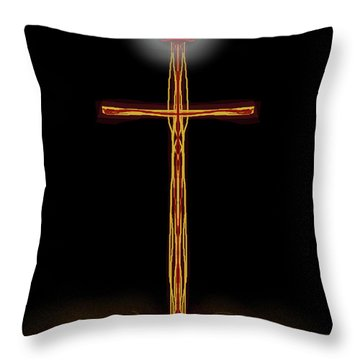 Throw Pillow featuring the digital art Abstract Cross With Halo by James Fannin