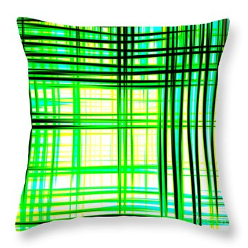 Abstract Design With Lines Squares In Green Color Waves - Pl409 Throw Pillow