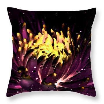Abstract Digital Dahlia Floral Cosmos 891 Throw Pillow