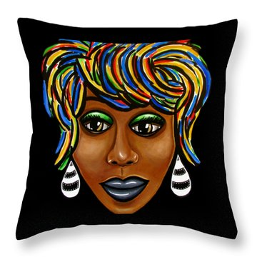 Abstract Art Black Woman Retro Pop Art Painting- Ai P. Nilson Throw Pillow