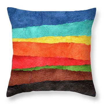 Abstract Landscape Created With Handmade Paper Throw Pillow