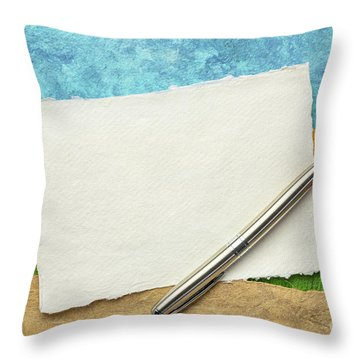Abstract Landscape With A Blank Note Throw Pillow