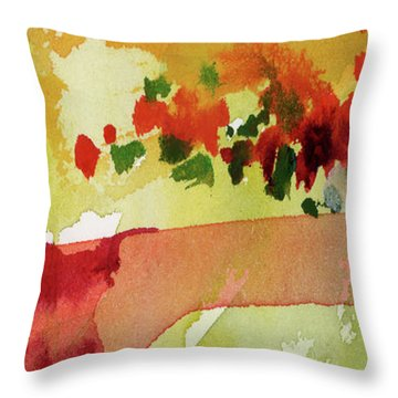 Abstract Red Poppies Panorama Throw Pillow
