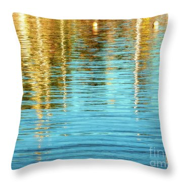 Abstract Reflections In Camden Harbor Maine Throw Pillow
