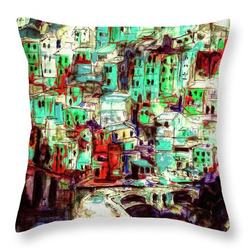 Abstract Riomaggiore Cinque Terre Art Throw Pillow