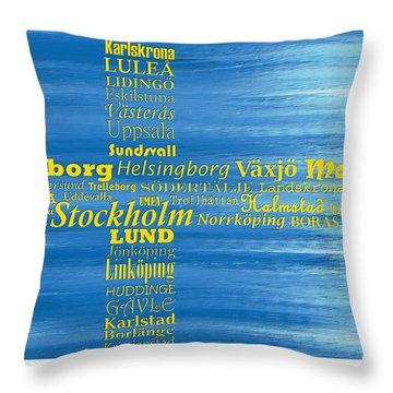 Abstract Swedish Flag  Throw Pillow