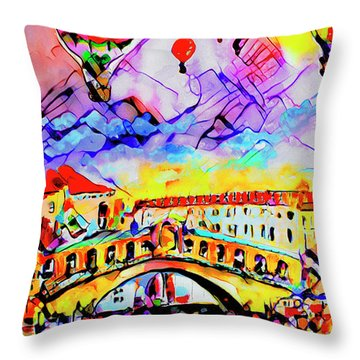 Abstract Venice Rialto Bridge Balloons Throw Pillow