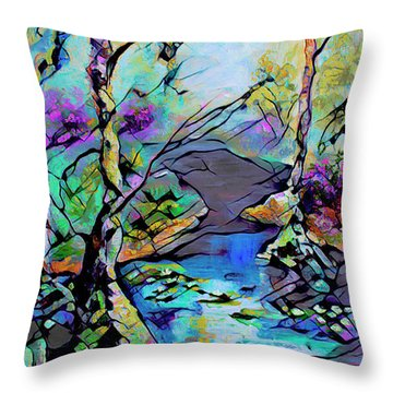 Abstract Wetland Trees And River Throw Pillow