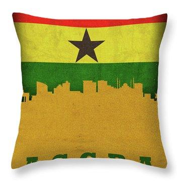 Accra Ghana World City Flag Skyline Throw Pillow