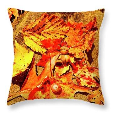 Acorns Fall Maple Oak Leaves Throw Pillow