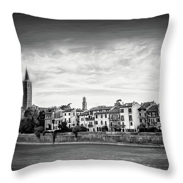 Adige River And Historic Old Town Verona Italy Black And White Throw Pillow