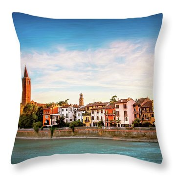 Adige River And Historic Old Town Verona Italy  Throw Pillow