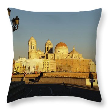 Throw Pillow featuring the photograph adiz Cathedral from Southern Field Spain by Pablo Avanzini