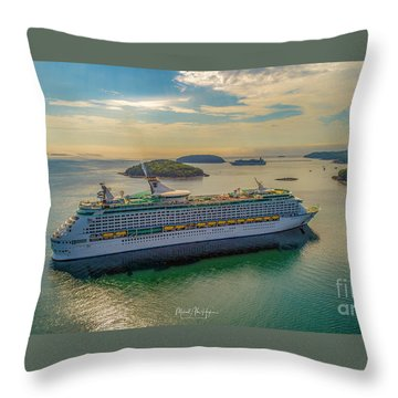 Throw Pillow featuring the photograph Adventure Of The Seas, Bar Harbor  by Michael Hughes