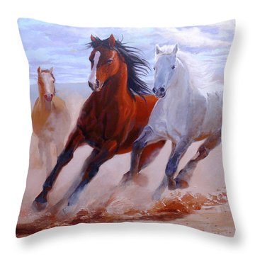 Adventurous Horses Throw Pillow