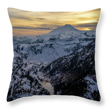Aerial Mount Baker Dusk Snowscape Throw Pillow