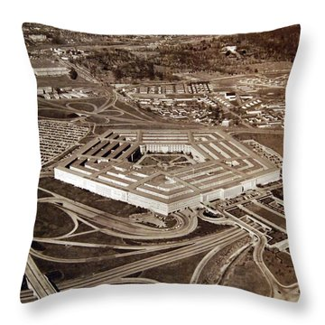 Aerial Of Pentagon Building, Washington, D.c. Note Navy Annex In The Left Background, April 1951 Throw Pillow