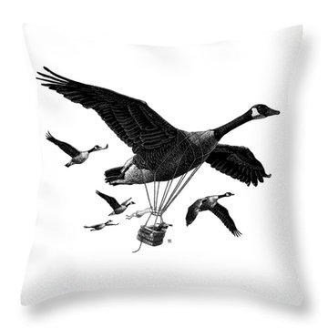 Aero Canada - Bw Throw Pillow