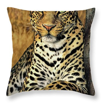 Throw Pillow featuring the photograph African Leopard Portrait Wildlife Rescue by Dave Welling
