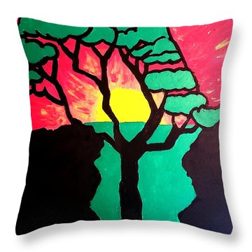Throw Pillow featuring the painting African Sunset  by Christopher Farris