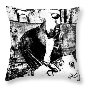 After Childish Edgeworth Black And White Print 26 Throw Pillow