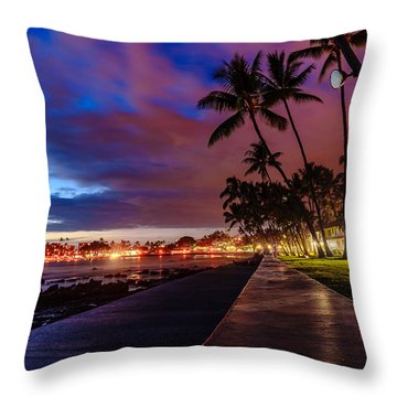 After Sunset At Kona Inn Throw Pillow