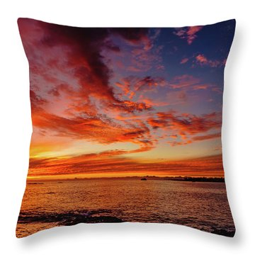After Sunset Colors At Kailua Bay Throw Pillow