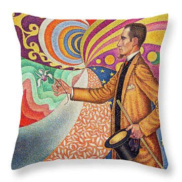 Against The Enamel Of A Background Rhythmic With Beats And Angles, Tones, And Tints Throw Pillow