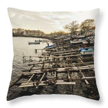 Ahtopol Fishing Town Throw Pillow