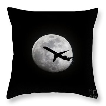 Airliner Passing In Front Of A Full Moon Throw Pillow