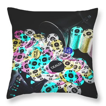 Poker Chips Throw Pillows