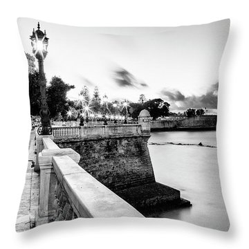 Throw Pillow featuring the photograph Alameda Apodaca Promenade Cadiz Spain Black And White by Pablo Avanzini