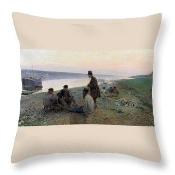 Alexey Korin - Barge Haulers Throw Pillow