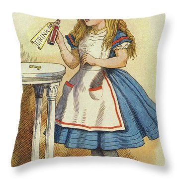 Alice Discovers A Bottle Marked Drink Me Throw Pillow