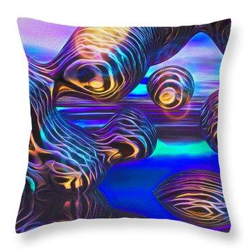 Alien Biometal Blue Throw Pillow