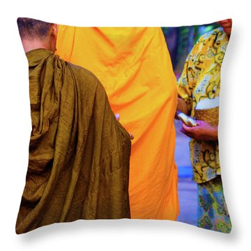 Alms For The Monks Throw Pillow