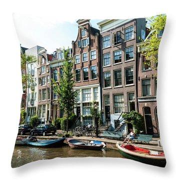 Along An Amsterdam Canal Throw Pillow
