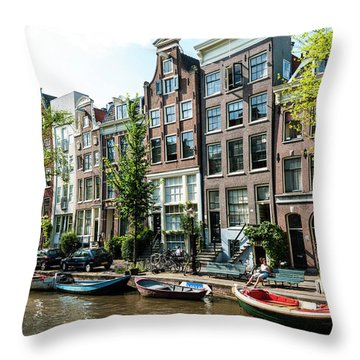 Along An Amsterdam Canal Throw Pillow