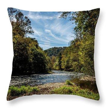 Along Oconaluftee River Trail Throw Pillow