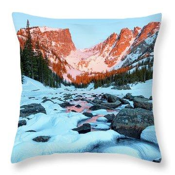 Alpenglow At Dream Lake Rocky Mountain National Park Throw Pillow