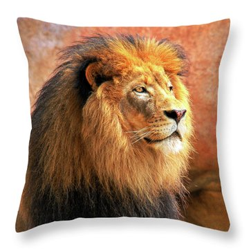 Throw Pillow featuring the photograph Alpha Male Lion by Howard Bagley