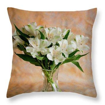 Alstroemeria Bouquet On Canvas Throw Pillow