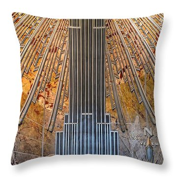 Aluminum Relief Inside The Empire State Building - New York Throw Pillow