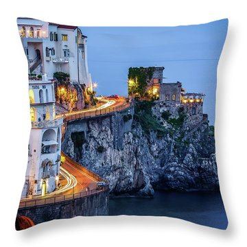Amalfi Coast Italy Nightlife Throw Pillow