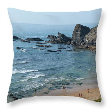 Amalia Beach From Cliffs Throw Pillow