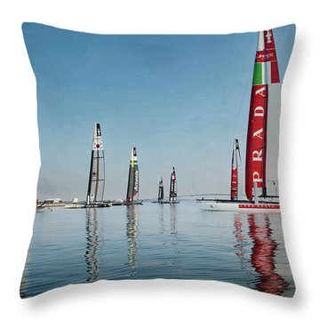 America Cup Boat Reflections Throw Pillow