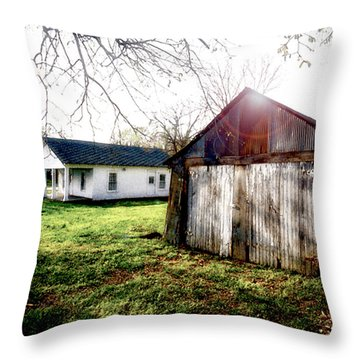 American Fabric   Mickey Mantle's Childhood Home Throw Pillow