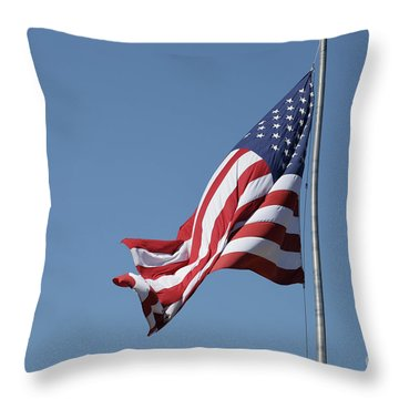 American Flag Waving Throw Pillow