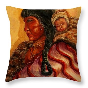 American Indian Mother And Child Throw Pillow